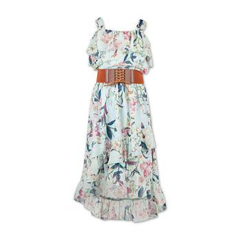 30f57f6f22daf Speechless Belted Short Sleeve Cold Shoulder Sleeve Fit & Flare Dress - Big  Kid Girls