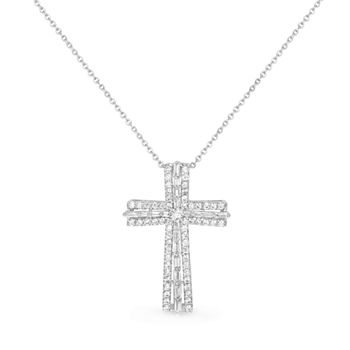 Sparkle Allure Cubic Zirconia Pure Silver Over Brass 17 Inch Rolo Cross Pendant