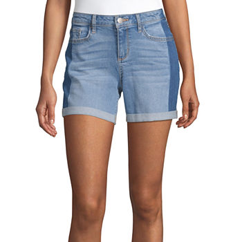 "a.n.a Womens Mid Rise 5"" Rolled Cuff Denim Short"