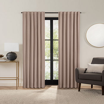 Fieldcrest Luxury Alden Linen Energy Saving 100% Blackout Back-Tab Single Curtain Panel