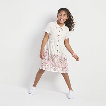 Knit Works Little & Big Girls Short Sleeve Shirt Dress