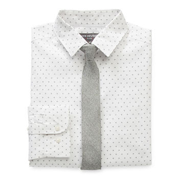 Van Heusen Flex Big Boys Point Collar Long Sleeve Shirt + Tie Set