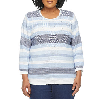 Alfred Dunner-Plus Denim Friendly Womens Round Neck 3/4 Sleeve Striped Pullover Sweater
