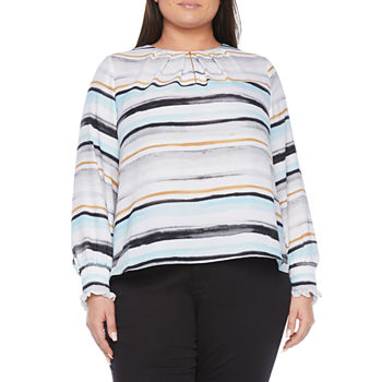 Worthington Womens Key Hole Neck Long Sleeve Blouse - Plus