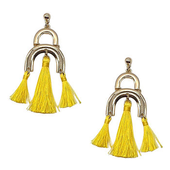 Bijoux Bar Yellow Fringe Drop Earrings