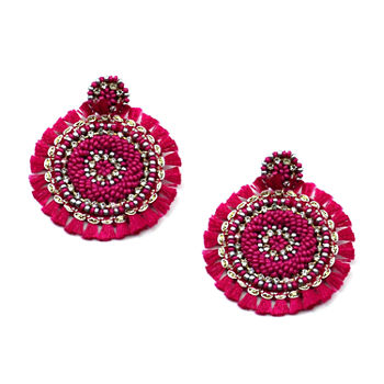 Bijoux Bar Pink Fringe Drop Earrings