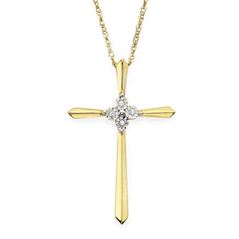 Diamond-Accent 10K Yellow Gold Cross Pendant Necklace