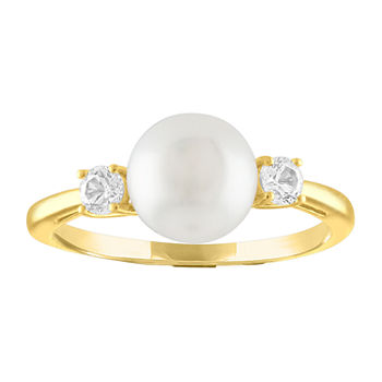 Womens Genuine White Cultured Freshwater Pearl 10K Gold Round Cocktail Ring