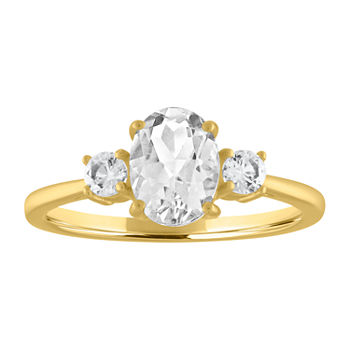 Womens Lab Created White Sapphire 10K Gold Oval Cocktail Ring