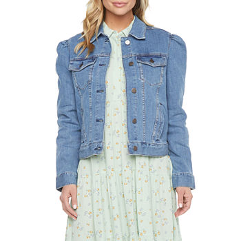 a.n.a. Womens Puff Sleeve Denim Jacket