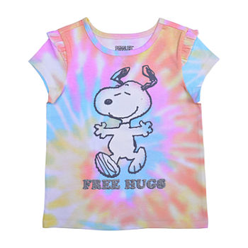 Okie Dokie Toddler Girls Crew Neck Snoopy Short Sleeve Graphic T-Shirt