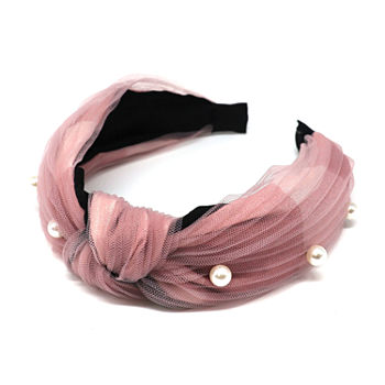 Mixit Tulle And Simulated Pearl Knot Headband