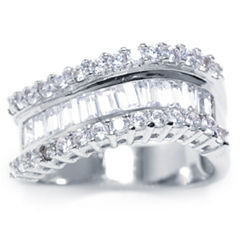 Sparkle Allure Womens Clear Silver Over Brass Band
