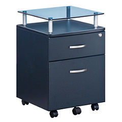 RTA Products LLC Techni Mobili Graphite With Glass Top Rolling File Cabinet