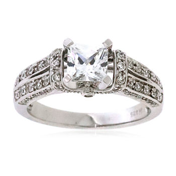 DiamonArt® Womens 1 1/4 CT. T.W. White Cubic Zirconia Sterling Silver Cocktail Ring