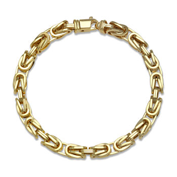 10K Gold 9 Inch Hollow Byzantine Chain Bracelet