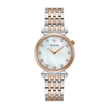 Bulova Regatta Womens Diamond Accent Two Tone Stainless Steel Bracelet Watch - 98p192