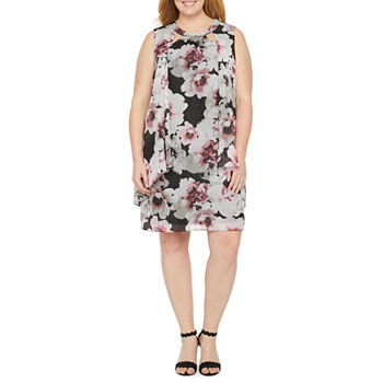 S. L. Fashions-Plus Sleeveless Beaded Floral Shift Dress