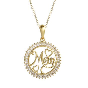 DiamonArt® Womens 1 1/10 CT. T.W.  White Cubic Zirconia 14K Gold Over Silver Round Pendant Necklace