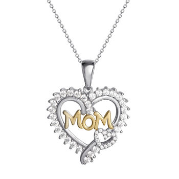 "DiamonArt® ""Mom"" Womens 1 1/5 CT. T.W. White Cubic Zirconia 14K Gold Over Silver Heart Pendant Necklace"""