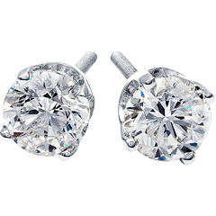1 CT. T.W. Diamond Stud Earrings 14K White Gold