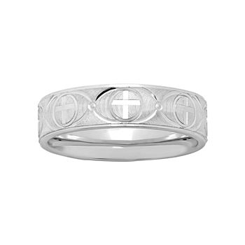 Mens Sterling Silver Ridged Cross Band