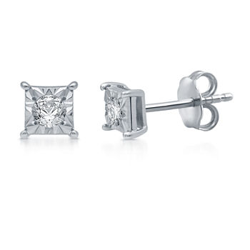 1/6 CT. T.W. Genuine White Diamond Sterling Silver 4mm Stud Earrings