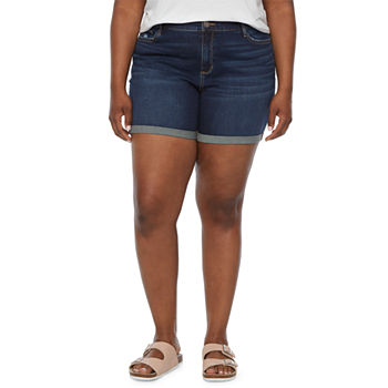 "a.n.a-Plus Womens Mid Rise 6"" Denim Short"
