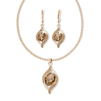 Monet® Gold-Tone Brown Crystal Ornament Necklace and Earring Set
