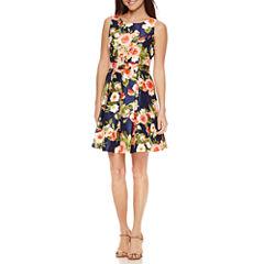 R & K Originals Sleeveless Floral Fit & Flare Dress-Petites
