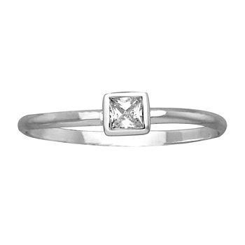 Itsy Bitsy Clear Sterling Silver Square Stackable Ring