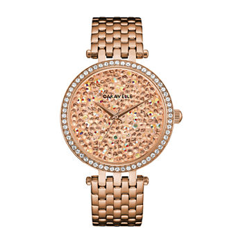 Caravelle Designed By Bulova Womens Crystal Accent Rose Goldtone Stainless Steel Bracelet Watch - 44l236