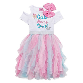 bb41de36e Jojo Siwa Embellished Short Cold Shoulder Sleeve Tutu Dress Girls