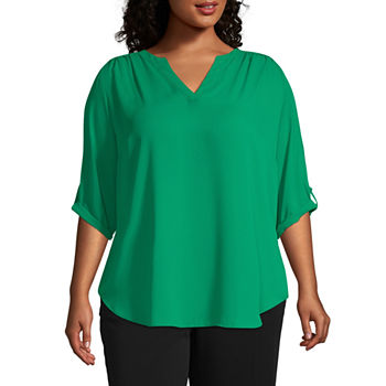 Worthington 3/4 Sleeve Split Crew Neck Woven Blouse - Plus