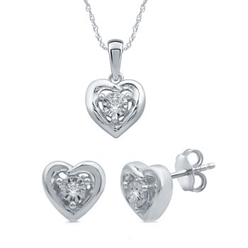 Diamond Accent Genuine White Diamond Sterling Silver Heart 2-pc. Jewelry Set