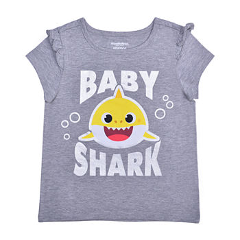 Okie Dokie Toddler Girls Crew Neck Baby Shark Short Sleeve Graphic T-Shirt