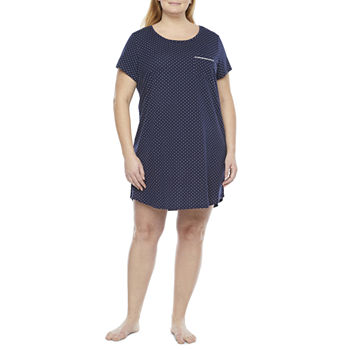 Liz Claiborne Womens Short Sleeve Plus Nightshirt