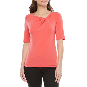 Bold Elements Womens Elbow Sleeve Twist Bodycon Tee - Plus