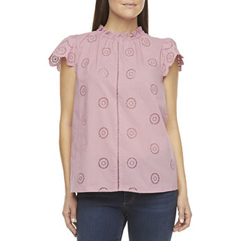 a.n.a Womens High Neck Short Sleeve Blouse