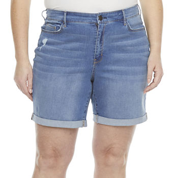 "a.n.a-Plus Womens 8"" High Rise Denim Short"