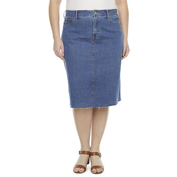 a.n.a Womens Mid Rise Denim Skirt-Plus