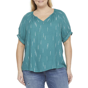 a.n.a-Plus Womens V Neck Short Sleeve Tunic Top