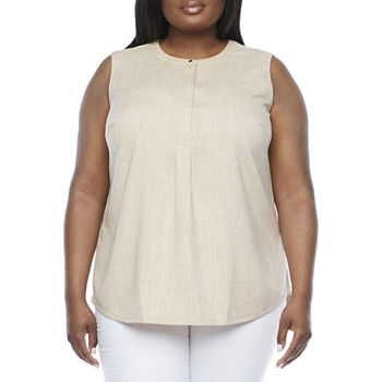 Liz Claiborne-Plus Womens Crew Neck Sleeveless Henley Shirt