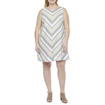 Liz Claiborne Sleeveless Striped A-Line Dress-Plus