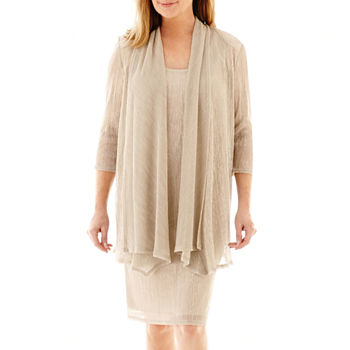R&M Richards 3/4 Sleeve Crinkle Jacket Dress