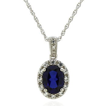 Womens Lab Created Blue Ceylon Sapphire Sterling Silver Pendant Necklace
