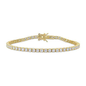 5 CT. T.W. Lab Created White Moissanite 18K Gold Over Silver Tennis Bracelet