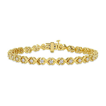 1 3/4 CT. T.W. Lab Created White Moissanite 18K Gold Over Silver Tennis Bracelet