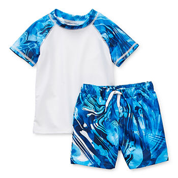 Peyton & Parker Baby Boys Waves Rash Guard Set