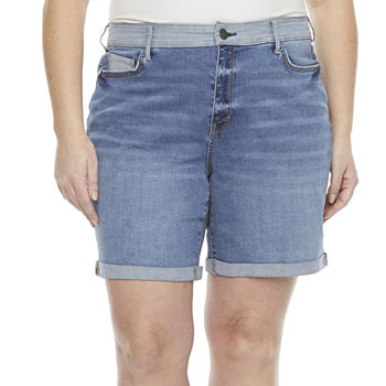 "a.n.a-Plus Womens 8"" High Rise Roll Cuff Denim Shorts"